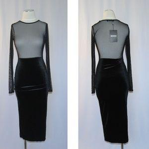 Missguided black mesh velvet stretch dress XS S